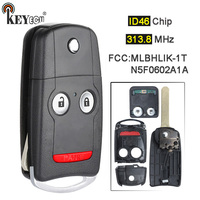KEYECU 313.8MHz ID46 Chip FCC: MLBHLIK 1T / N5F0602A1A Flip Folding 3 Button Remote Car Key Fob for Acura TL TSX ZDX MDX RDX