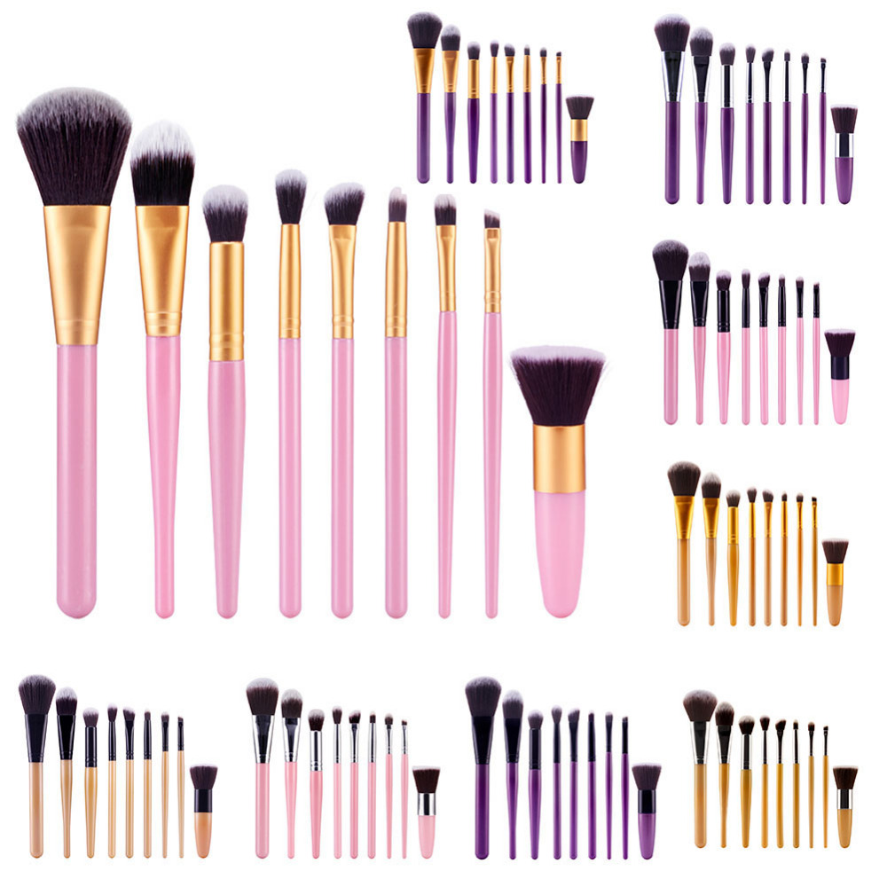 9Pcs Mutil color Professional Makeup Brushes Set Foundation Powder Blush Eyeliner Eyeshadow Make Up Tools Kits