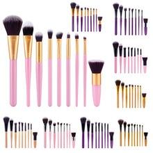 9Pcs Mutil-color Professional Makeup Brushes Set  Foundation Powder Blush Eyeliner Eyeshadow Make Up Tools Kits(opp bag packing)