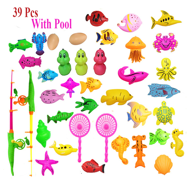 40pcs/lot With Inflatable pool Magnetic Fishing Toy Rod Net Set For Kids Child Model Play Fishing Games Outdoor Toys
