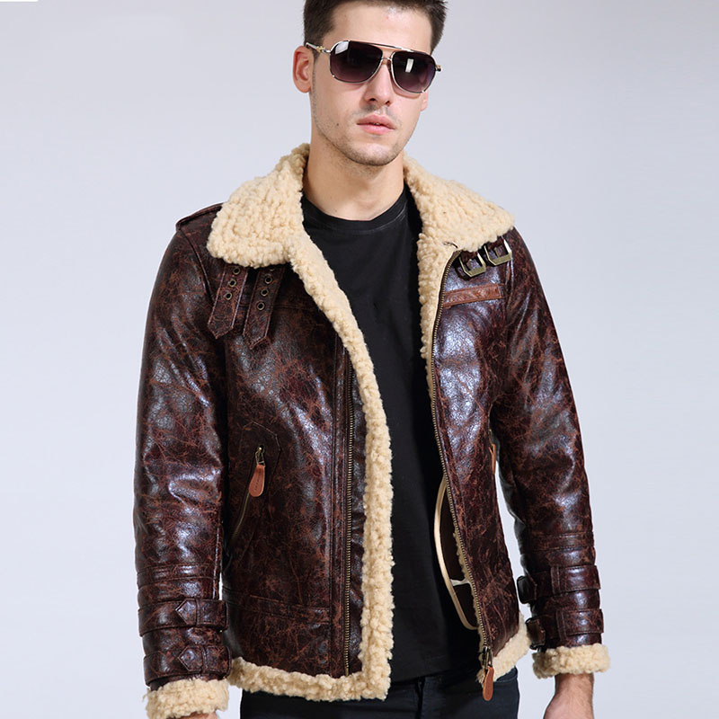 High Quality New Brand Fashion Mens Vintage Leather Lamb Fur Fleece Bomber Flight Coats Male Winter Warm Fur Lining Zipper Coats