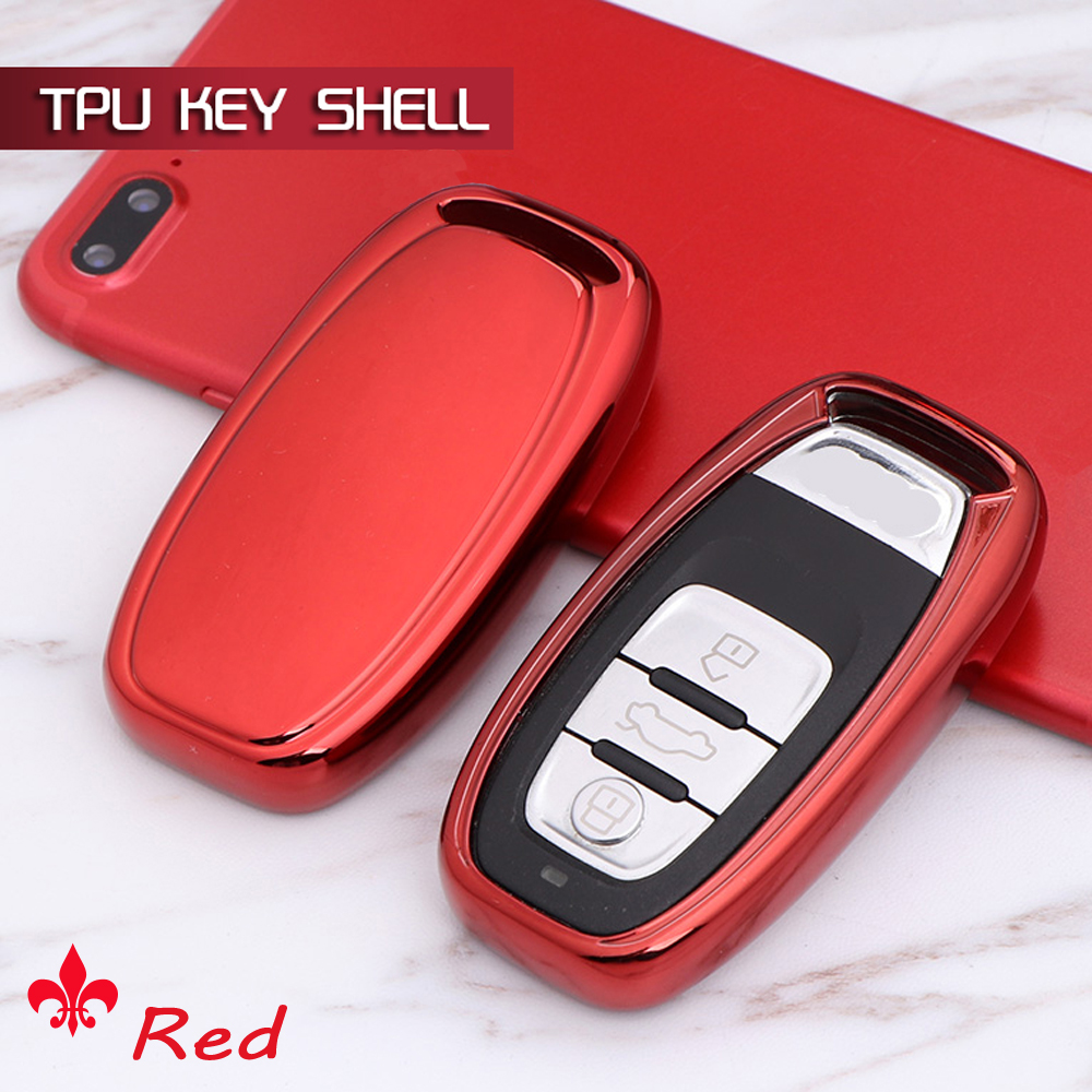 Red Silicone Car Key Fob Case Cover Protector For Audi A4 A5 A6 A7 A8 Q5 NEW