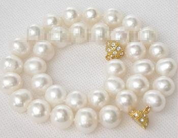 """FREE SHIPPING>@@> Hot sale new Style >>>>> luster natural 17"""" 13mm white pearls necklace magnet clasp j9051"""