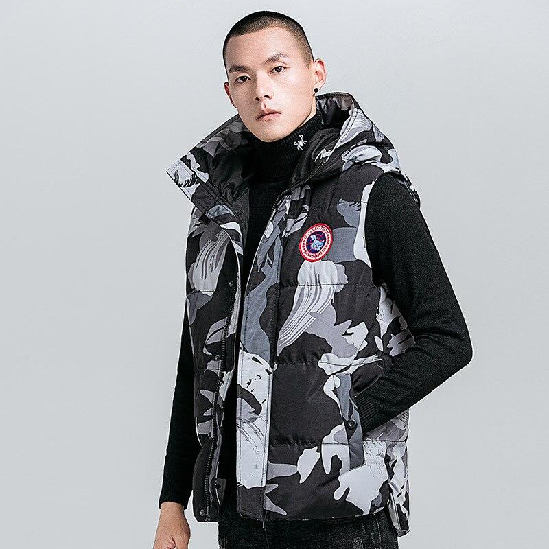 GustOmerD 2018 Men's Hooded Vest Down Coats Men Casual Winter Jacket Male Waistcoats Camouflage Outwear Men's Brand Clothing