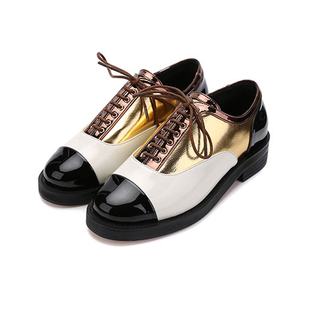 Women Casual Shoes 2017 New Designer Women Shoes Fashion Round Toe Lace Up Oxford Shoes Woman Flat Shoes Women Brogue Footwear