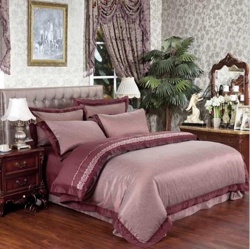 Encaje Jacquard juegos de cama de matrimonio king size 4 unids Satén sábanas fun
