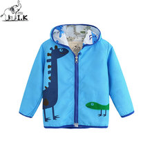 I.K Children Boys Blue Jackets LongSleeves Hoodies Zipper With Dinosaur Printing For Spring Autumn Baby Kid utwearcoats  WT26003