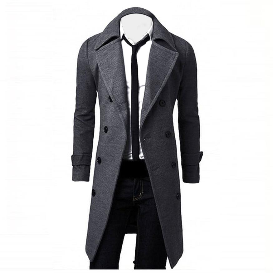 HAMBODER 2018 Winter Men Cotton Turn-down Collar Coat Slim Business Stylish Trench Coat Double Breasted Long Jacket    18JULY17