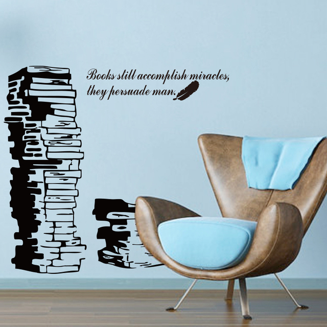 Art new design home decoration vinyl books with words wall sticker removable  colorful house decor decals
