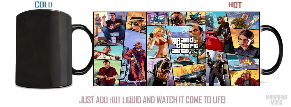 Grand Theft Auto GTA 5 Heat sensitive Black color changing morphing coffee Tea mugen white and