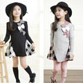 New spring baby girl dress long sleeve dress for girl constume England style girl party princess dress children kids clothes
