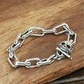 Crânio fivela pulseira 925 corrente de prata pulseira de homens moda pulseras hombre GB60