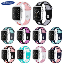 все цены на Strap For Apple watch band Apple watch series 4 3 iwatch band 42mm 38mm 44mm 40mm replacement silicone bracelet Wrist watchband онлайн