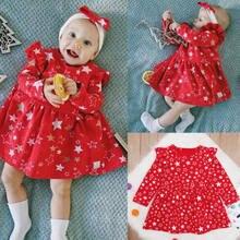 c04cccfa1 Pudcoco nuevo Navidad vestido rojo bebé encantador estrella imprimir vestido  niño ropa de Navidad princesa chica