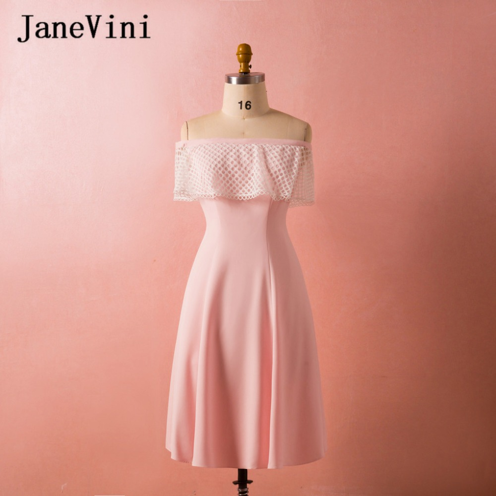 JaneVini Simple Pink Satin   Bridesmaid     Dresses   2018 A Line Boat Neck Sleeveless Zipper Back Tea Length Vestido Madrinha Plus Size
