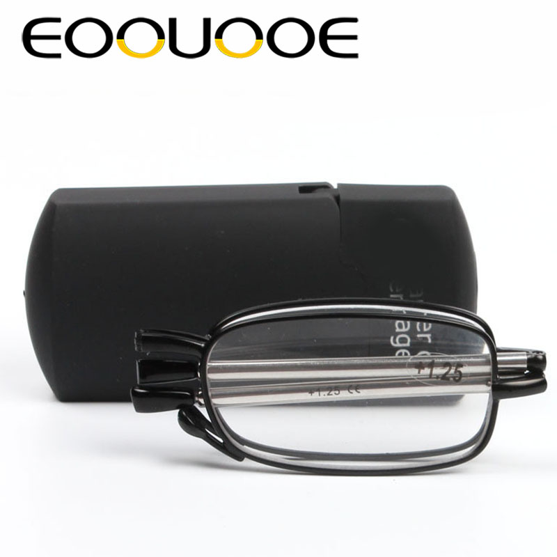 Eoouooe Vrouwen Mannen Bril Antenne Mini Ultralight Sos Portemonnee Oudere Optics Met Doos Oculos De Grau Gafas Vouwen Lezen Glasse