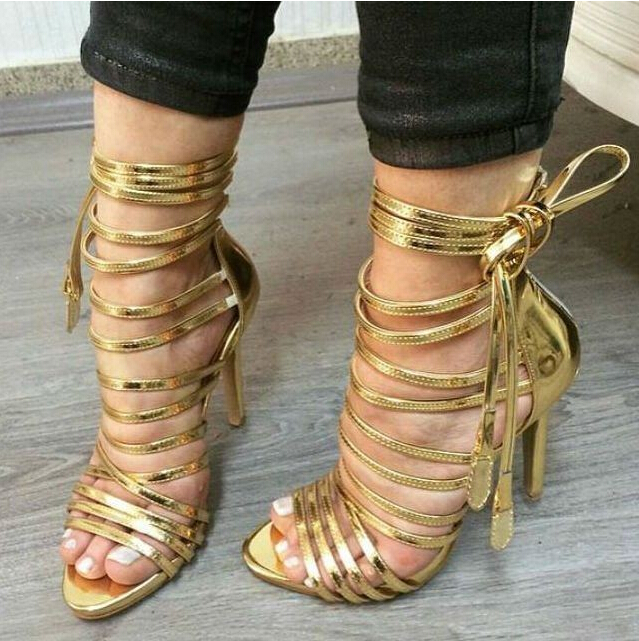 Summer 2016 Gold Ankle Strap Women Sandals High Heel Lace-up Strappy Gladiator Sandals Boots Women Size 10 Drop Ship