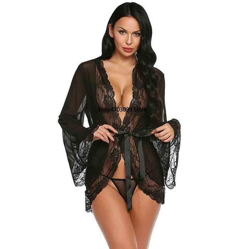 9a615c667db ... 2019 new models Robe Sexy Lingerie Nightgown Women Hot Erotic Sleepwear  Long Sleeve Sexy Underwear Patchwork ...