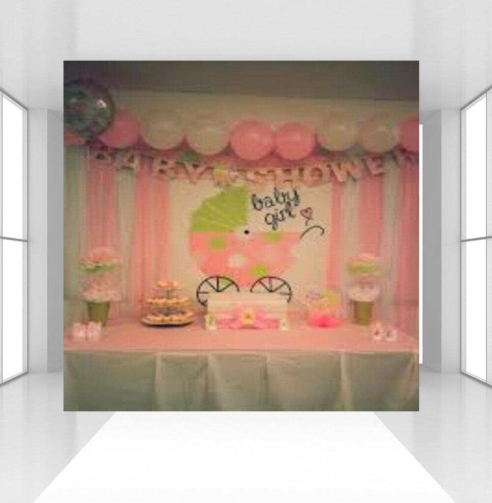 Photographie arrière-plans thème rose bébé douche fille princesse révéler sexe fête bannière Photo Studio Prop Photocall CZ-121