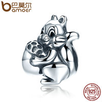 BAMOER Genuine 925 Sterling Silver Naughty Squirrel Pine Nut Animal Charm Beads Fit Women Charm Bracelet