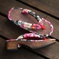 Деревянные сандалии 2017 Новая Мода Ретро Японский стиль сабо мода деревянные флип-флоп тапочки женские сабо тапочки