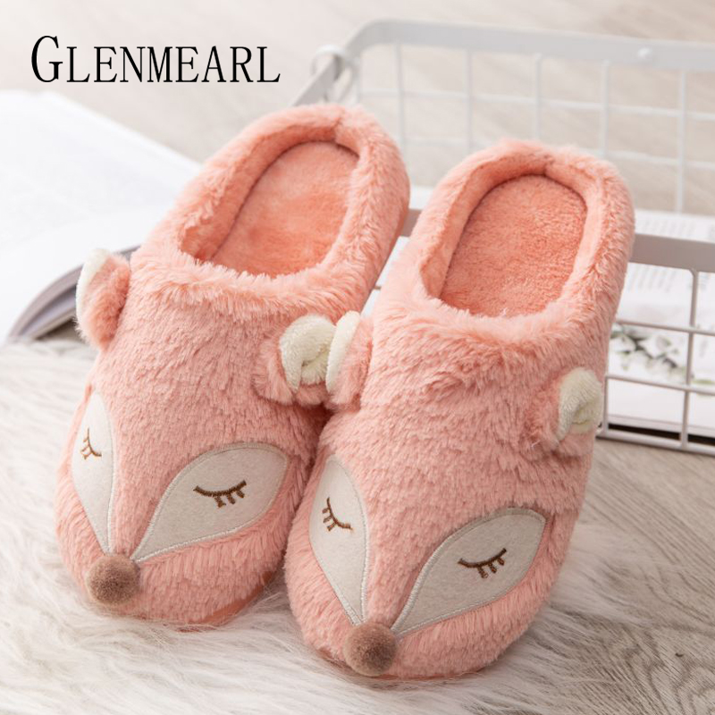 Women Slippers Indoor Shoes Comfortable Home Slippers Slip On Winter Shoes Woman Flats Animal Warm Plus Size Female Sliders DE