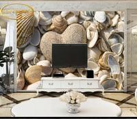 Custom Photo Wallpaper 3D Beach Shell Heart Shaped Stone Coast Bedroom Bathroom Wedding Shop Photography Shop
