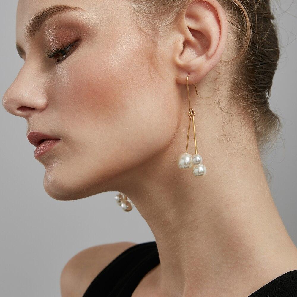 Enfashion Imitation Pearls Dangle Earrings Gold color Earings Drop Earrings For Women Long Earring Jewelry oorbellen ohrringe