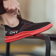 Summer New Men Shoes Flyknit Mesh Casual Soft Walking Run Sneakers Letter Flats Increase Trendy