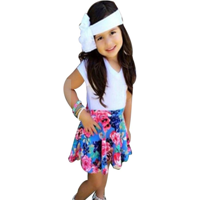 Children Clothing Floral Baby Kids Girl Dress Short Sleeve Top T-Shirt+Skirt Outfits Set Clothes White Girls Clothes