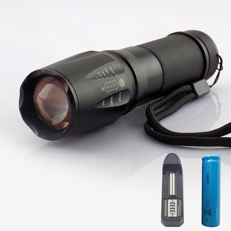 Cree T6 Zoom Led Flashlight Focus Aaa Battery Flash Torch Lamp Light 2000Lm Led Linternas For Hunting Camping +18650 Battery ultra bright led flashlight torch lamp cree xml t6 focus tactical aaa battery linternas led flash light 18650 battery charger