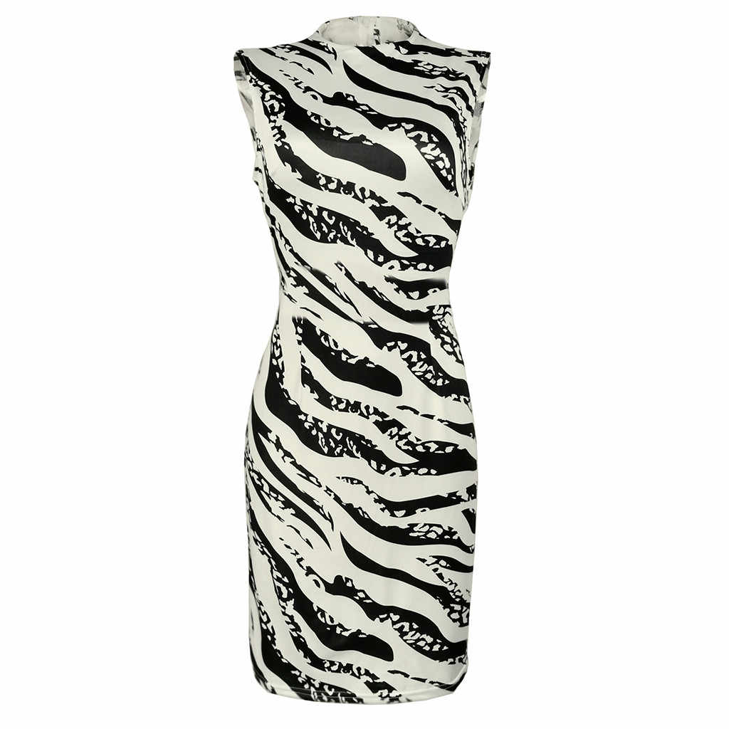 Femmes robe d'été dames Sexy rayure imprimer sans manches Mini robe mode moulante robes élégantes femmes sexy robes 2019 nouveau