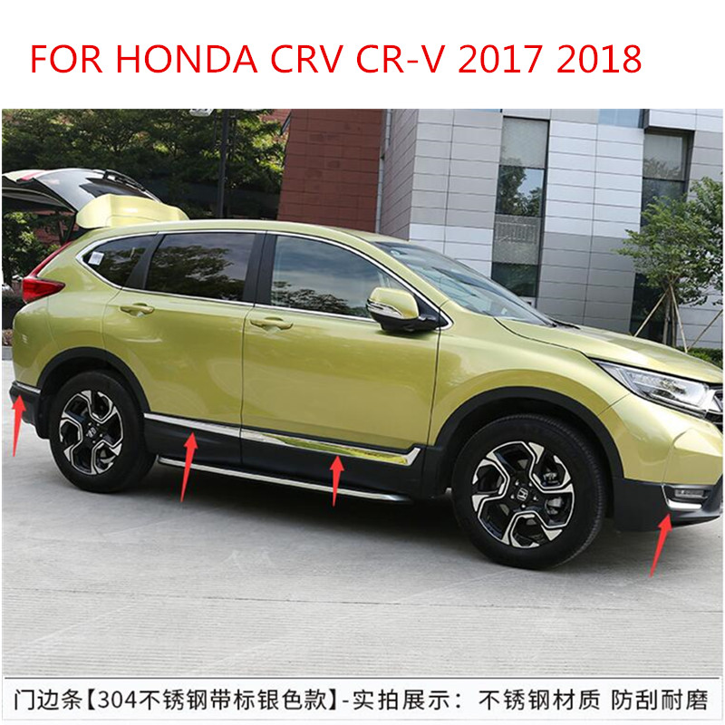 STAINLESS STEEL SIDE DOOR BODY MOLDING TRIM COVER LINE GARNISH STICKER ACCESSORIES 8PCS/SET FOR HONDA CRV CR-V 2017 2018 2019 accessories fit for 2013 2014 2015 2016 hyundai grand santa fe side door line garnish body molding trim cover