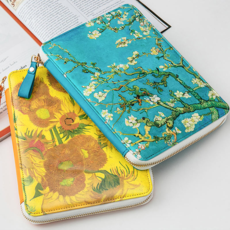 New Arrive Yiwi Famous Sunflower Apricot flowers Zip Bag Planner With Hobo Filler Pages Sticker Gifts