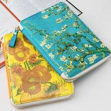 חדש מגיע Yiwi מפורסם חמניות משמש פרחים Zip תיק מתכנן עם נווד מילוי דפים מדבקת מתנות מכתבים