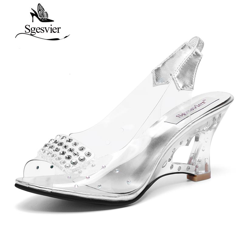SGESVIER Women Sandals Wedges Sandaler Sexiga Sommar Chaussure Skor Glass Tofflor Transparent Crystal Sandal Peep Toes Skor S065