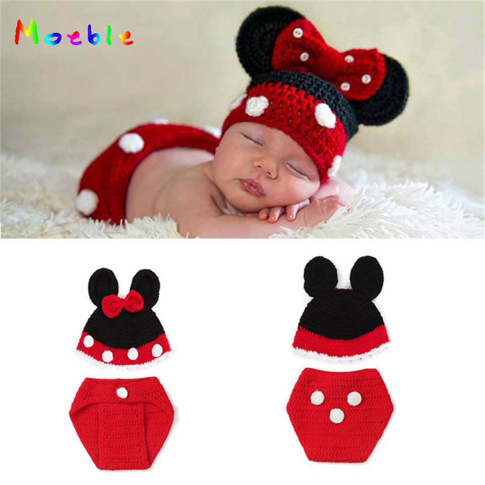 2018 Minnie Design Baby GIRL Beanies Infant Baby Cartoon Hats/Caps&Diaper Set Nursling Knit Crochet Photo Props 1set MZS-14106 free shipping baby boy minion set crochet suspender diaper cover
