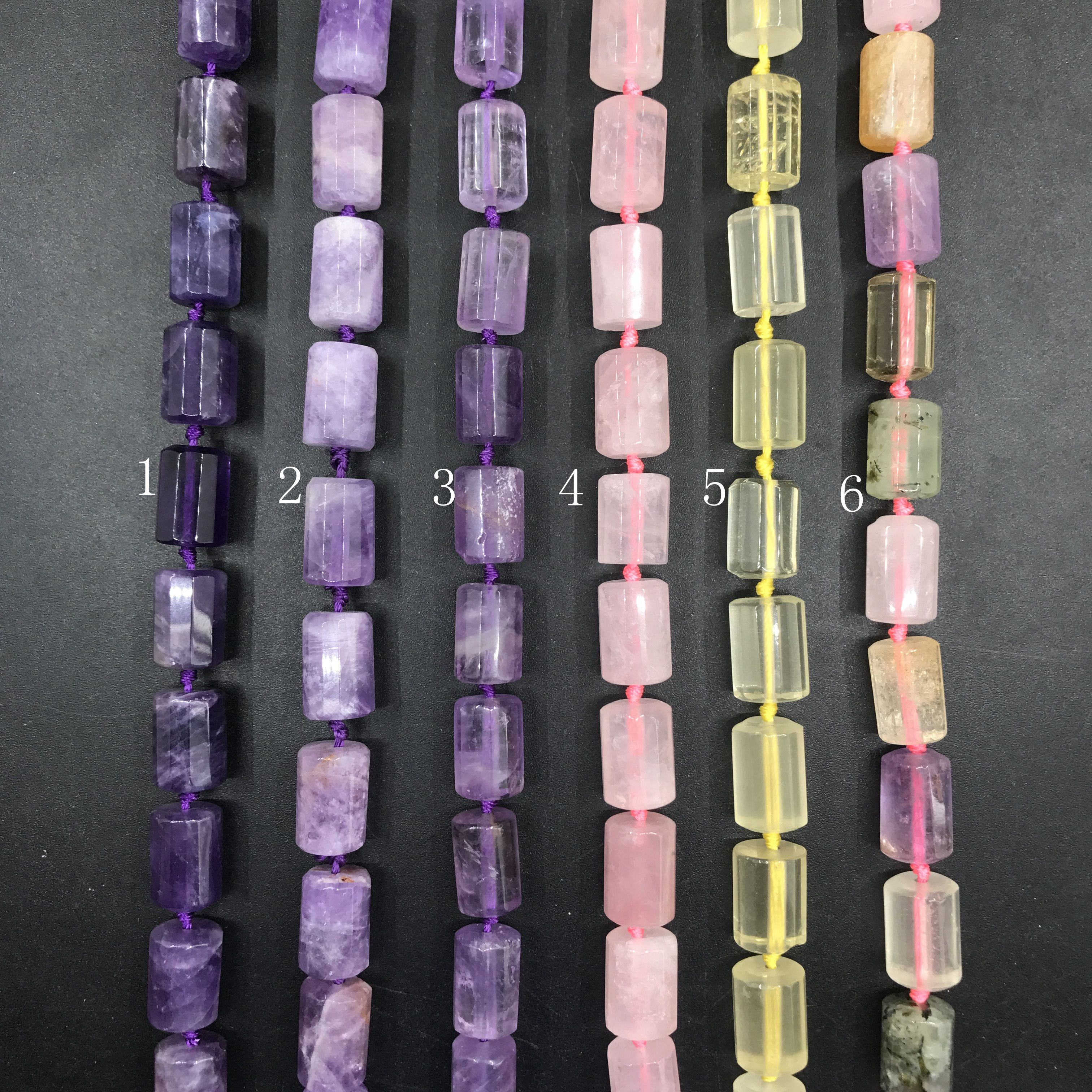 20pcs strand 6 Stone Choice Natural Crystal Faceted Tube Cylinder Nugget Pendant Beads Amethysts Rose Lemon Quartz Jewelry Bulk in Beads from Jewelry Accessories