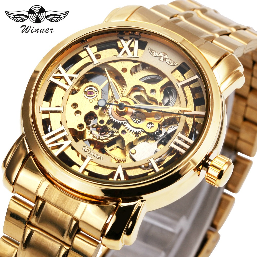 Men's Watch 2017 T-WINNER Automatic Mechanical Wristwatches Luxury Stainless Steel Strap Skeleton Dial Roman Number Design + BOX full hunter smooth cooper pocket watch skeleton roman numbers dial mechanical automatic fob hour antique gift for men women