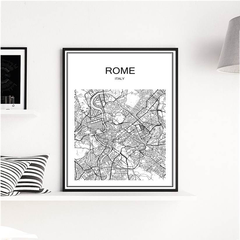 White World City Map Of ROME Vintage Poster Art Kraft Paper Cafe Bar Home Living Room