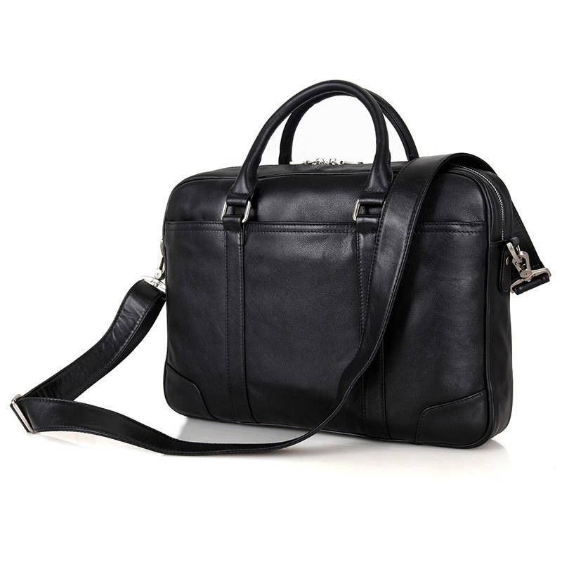 Nesitu Black Office Genuine Leather Men Briefcase Messenger Bags Real Skin Business Travel Bag 14'' Laptop Portfolio M7349