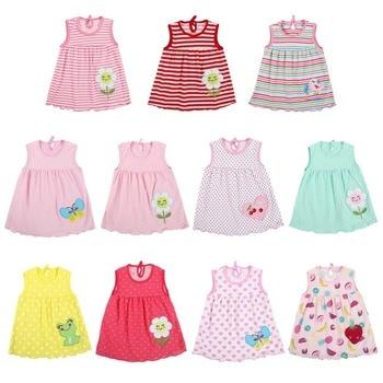Newborn Baby Summer Dresses Girls Dress Baby O-neck Sleeveless Cotton Princess Mini Dress Child Cute Pattern Decor Dot Clothes 1
