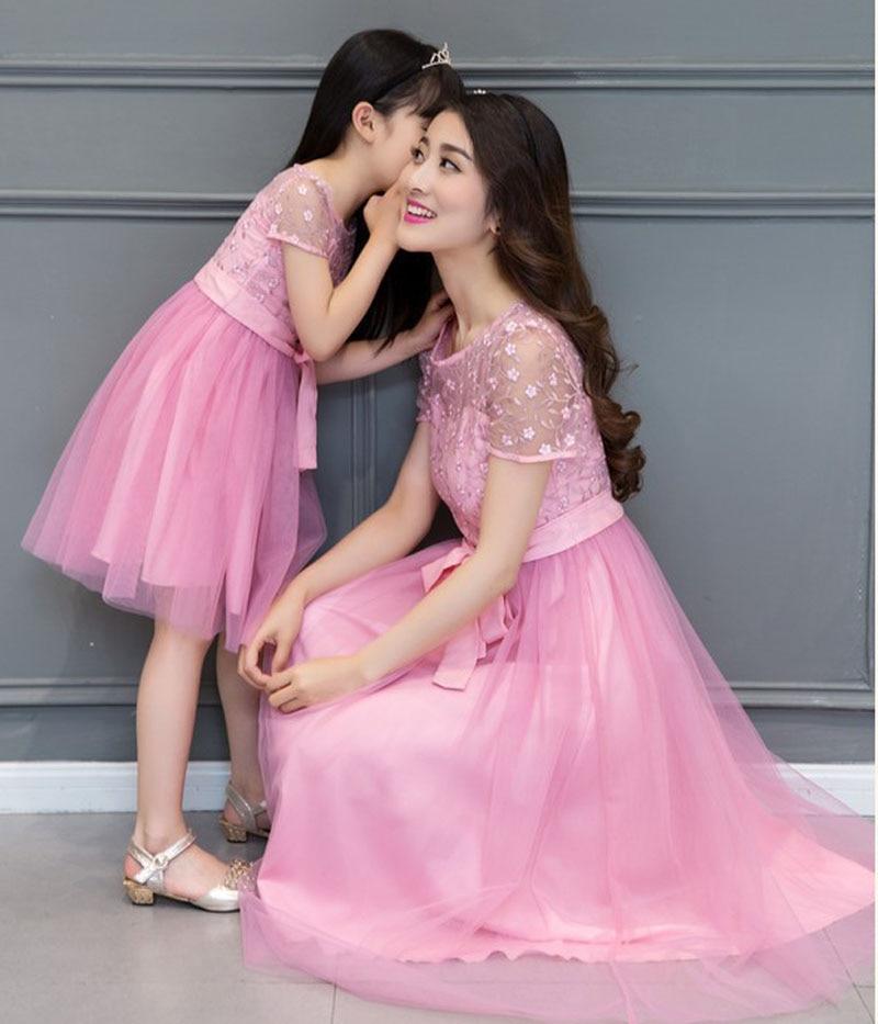 Matching madre hija vestido 2017 madre hija Encaje Vestidos para ...