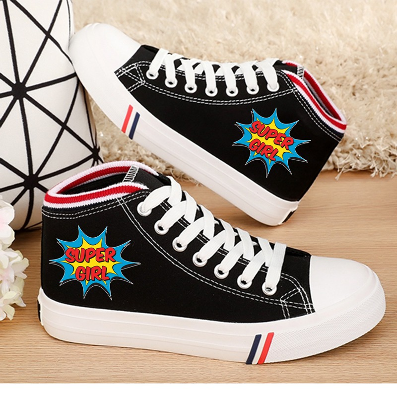 Cool Batman Character Logo Cartoon pattern Printing Womens High-top Double Canvas Shoes Fashion