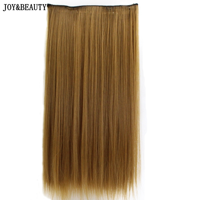 JOY&BEAUTY 24 inch/60cm Long Straight Women Clip in Hair Extensions Black Brown High Tempreture Synthetic Hair Piece 130g