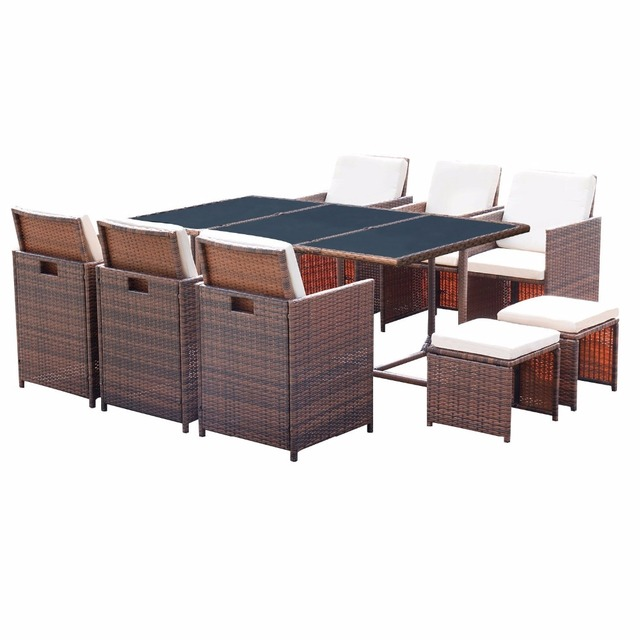 Bon Homall 11 Piece Patio Furniture Dining Set Patio Wicker Rattan Table And  Chairs Set Outdoor Furniture Cushioned Tempered Glass