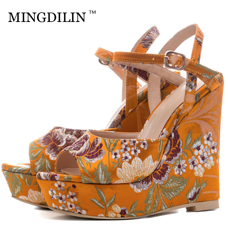 цены MINGDILIN Embroider Women's High Heels Sandals Summer Platform Woman Heels Shoes Women's Wedges Sandals Zapatos Mujer