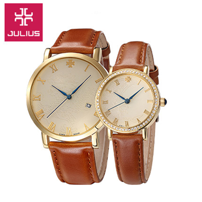 Top Julius Man Woman Dragon Phoenix Couple Watch 4 Colors Simple Fashion Hours Dress Bracelet Leather Boy Girl Lovers Gift