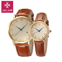 Top Julius Man Woman Dragon Phoenix Couple Watch 4 Colors Simple Fashion Hours Dress Bracelet Leather