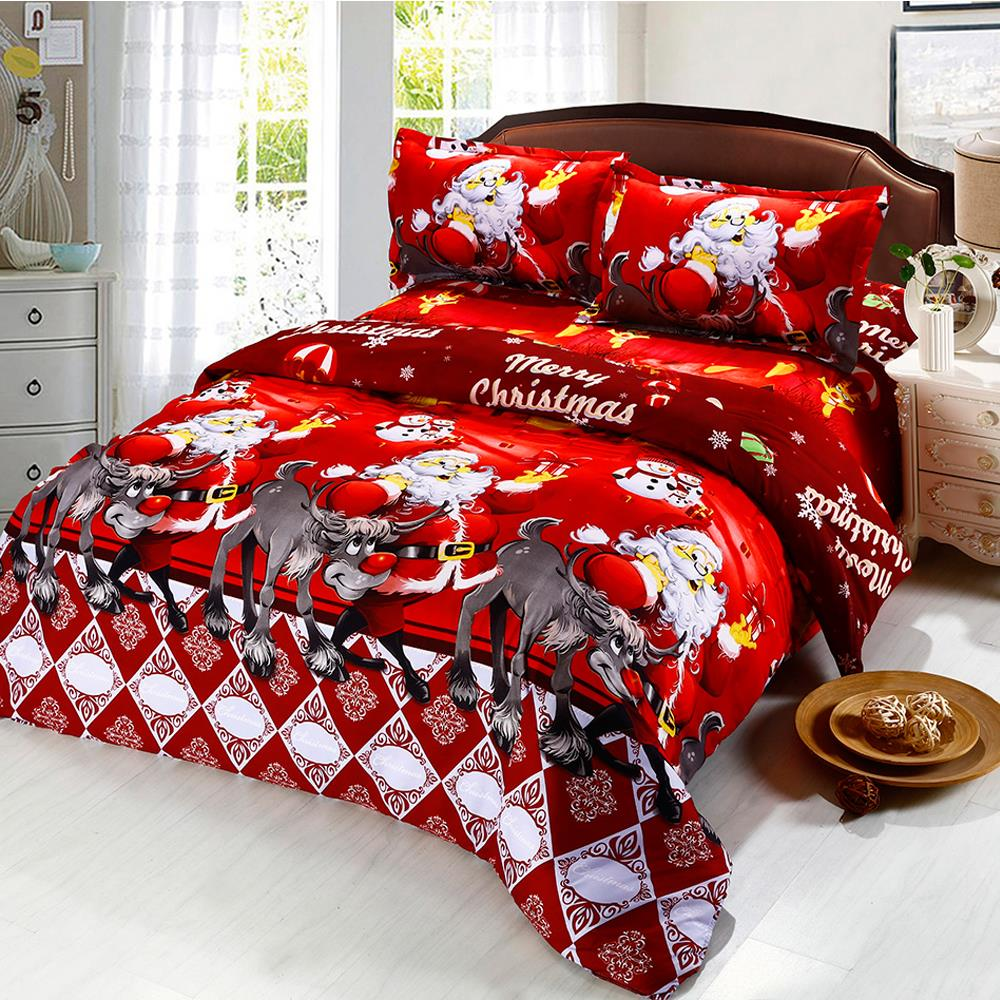 4/2Pcs Red Green Christmas Bedding Set Twin King Queen Duvet Cover Set Cartoon Santa Claus Print Bed Sheet Pillowcase Bed Cover